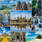 stock photo of storyboard  - Mosaic collage storyboard of Cambodia travel images of tourist landmarks - JPG