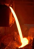 image of blast-furnace  - Pouring of liquid metal in open hearth workshop of the metallurgical plant - JPG
