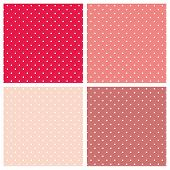 picture of dot pattern  - White polka dots on pink vector background set - JPG