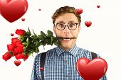foto of love bite  - Geeky hipster biting a bunch of roses against hearts - JPG