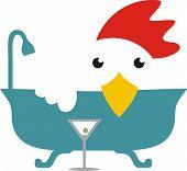 Постер, плакат: Кулинария курица ванной Мартини рассола
