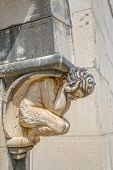 pic of mausoleum  - Angel statue decoration above the entrance door of the mausoleum on the old catholic cemetery - JPG