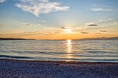 image of rats  - Beautiful summer sunset on the beach Bili Rat in Supetar - JPG