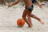 foto of splayed  - Boys playing beach soccer  - JPG