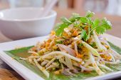 picture of cooked crab  - Spicy crab eggs with mango salad on dish - JPG