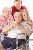 picture of disabled person  - shot of a Family with handicap father vertical - JPG