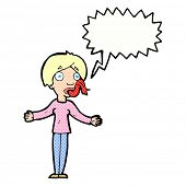 image of tell lies  - cartoon woman telling lies with speech bubble - JPG