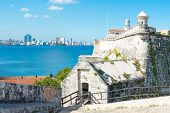 image of el morro castle  - The fortress of El Morro in Havana with a view of the city skyline - JPG