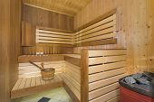 stock photo of sauna  - Sauna interior  - JPG