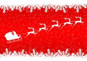 foto of sleigh ride  - Santa Claus rides in a sleigh reindeer on red background - JPG