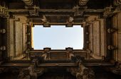stock photo of pilaster  - Perspective View of Adalaj Stepwell in Ahmedabad Gujarat India - JPG