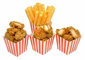 picture of southern fried chicken  - Southern fried chicken nuggets and French fries in red and white striped boxes - JPG