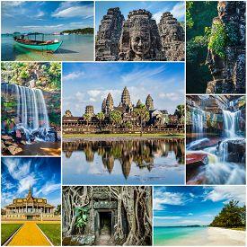 stock photo of storyboard  - Mosaic collage storyboard of Cambodia travel images of tourist landmarks - JPG