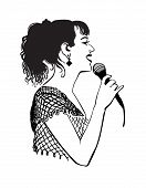 picture of karaoke  - Girl singing with microphone on the stage in the karaoke club - JPG
