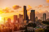 image of washington skyline  - Seattle Scenic Sunset with Colorful Clouds - JPG