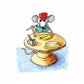 pic of mouse  - funny little mouse sitting at table and eating pancakes isolated over white background - JPG