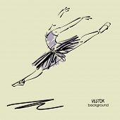 pic of tutu  - art sketched beautiful young ballerina with tutu in fly dance - JPG