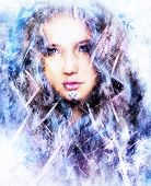 stock photo of snow queen  - Beautiful snow queen with snow flakes and ornamental frost pattern - JPG