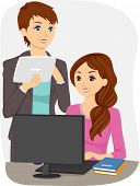 stock photo of pre-adolescents  - Illustration of a Teen Girl on her Computer with her Teacher - JPG