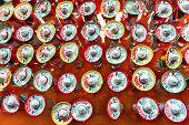 stock photo of shot glasses  - Colorful Souvenir Tequila Shot Glasses Hats Mexico City Mexico - JPG