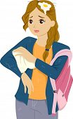 pic of pre-adolescent girl  - Illustration of a Girl Wiping off Water from her Clothes - JPG