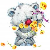stock photo of teddy  - Toy Teddy bear and flowers. watercolor illustration for kid background