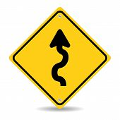 pic of slippery-roads  - Winding Road Sign Isolated On White Background - JPG