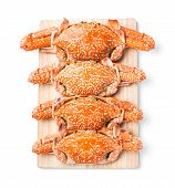 image of cooked blue crab  - Steamed flower crab served on wooden chopping board - JPG