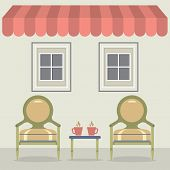 stock photo of awning  - Vintage Chairs Set With Coffee Under Awning And Windows Vector Illustration - JPG