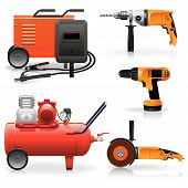 stock photo of welding  - Electric Tools Icons including drill - JPG