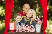 image of handphone  - Very Happy smiling family on nature photoshoot - JPG