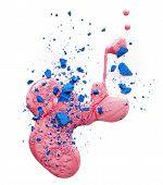 image of pink eyes  - Pink nail polish and blue eye shadow isolated on white background - JPG