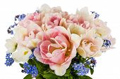 foto of forget me not  - Bouquet of tulips and forget - JPG