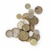 stock photo of copper coins  - Old Coins isolated on the white background - JPG
