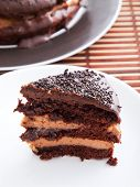 foto of cream cake  - Chocolate cake with coffee cream one piece cut from the whole cake - JPG