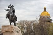 stock photo of emperor  - Monument of Russian emperor Peter the Great known as Statue of The Bronze Horseman Saint Petersburg Russia - JPG