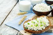 stock photo of whole-grain  - healthy Breakfast with whole grain rye bread cottage cheese and milk  - JPG