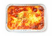 picture of lasagna  - Close up beef lasagna in foil tray isolated on white deep focus image delicatessen - JPG