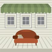 picture of awning  - Empty Sofa With Books Under Awning And Windows Vector Illustration - JPG