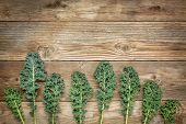 image of kale  - green kale leaves on a rustic wood with a copy space - JPG