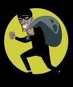 pic of pick-lock  - Robber in mask vector illustration art with black background - JPG
