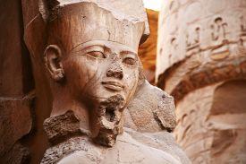 picture of pharaohs  - Pharaoh Ramses II statue in Luxor Temple - JPG