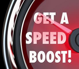 image of productivity  - Get a Speed Boost words on a red speedometer to illustrate increased performance - JPG