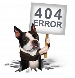 stock photo of not found  - 404 error page not found concept and a broken or dead link symbol as a dog emerging from a hole holding a sign with text for breaking the network connection resulting in internet search problems - JPG