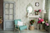 Vintage Country House Interior With Mirror And A Table With A Vase And Flovers poster
