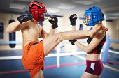 image of muay thai  - Couple workout on ring - JPG
