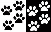 picture of paw-print  - a photo of animals and man people foot steps in illustration - JPG