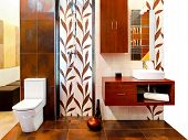 picture of lavabo  - Interior of brown bathroom with leaves tiles - JPG