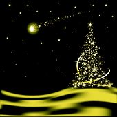foto of glow-worm  - Vector Christmas tree with falling star in desert - JPG