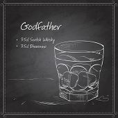 Постер, плакат: Alcoholic Cocktail Godfather on black board